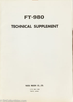 Yaesu FT-980 Amateur Radio Service Manual