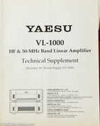 Yaesu VL-1000 Amateur Radio Linear Amplifier Service Manual