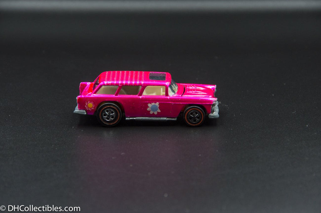 1970 Hot Wheels Redline Classic Nomad Hot Pink with White Interior Flower Power