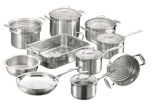Scanpan Impact Cookset 10pce 16/18/20 Sauc/ Steamer/24 Cass/26fry/24stock/Roaster - ZOES Kitchen