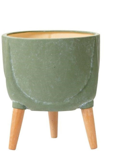 Ladelle Modern 33cm Dusty Green Legged Planter Pot - ZoeKitchen
