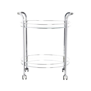 Swing Smith Bar Cart Trolley Oval - Chrome /Clear Glass