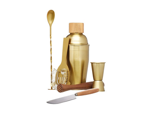 BC COCKTAIL SET 6PC BRASS GIFT BOXED - ZoeKitchen