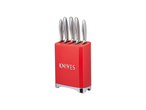 Kc Lovello 5pc Knife Block Set Red Gift Boxed - ZoeKitchen