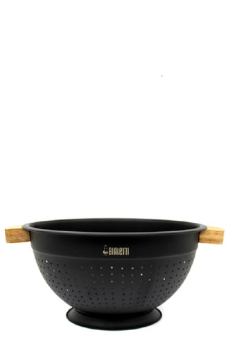Bialetti Acacia Handle with Black Stainless Body- 24cm Colander - ZOES Kitchen