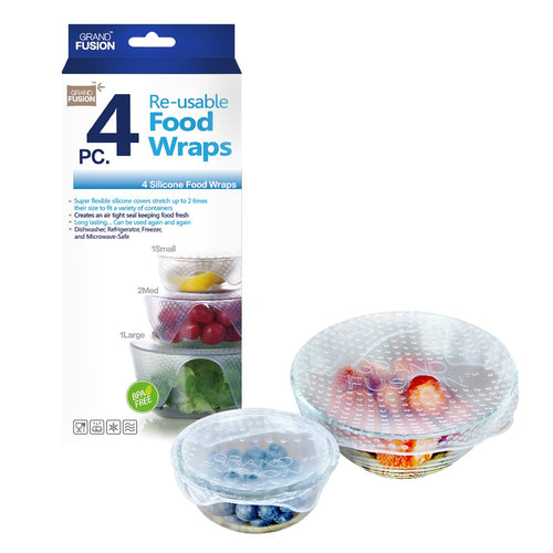 DLINE SILICONE FOOD WRAPS 4 PACK - CLEAR - ZoeKitchen
