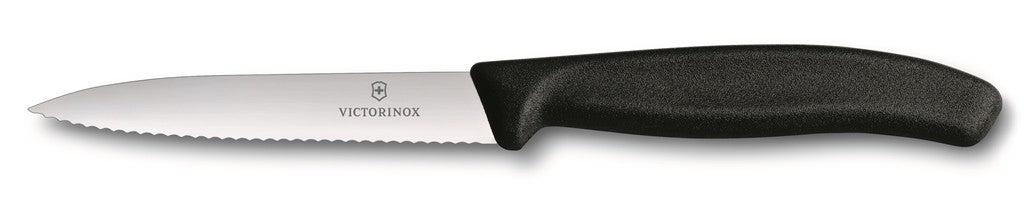 Victorinox Paring Knife Pointed Tip - Wavy Edge - Black 10cm - ZoeKitchen