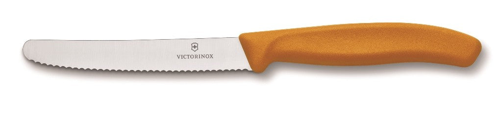 Victorinox Tomatoe & Sausage Knife Round Tip - Wavy Edge - Orange 11cm - ZOES Kitchen