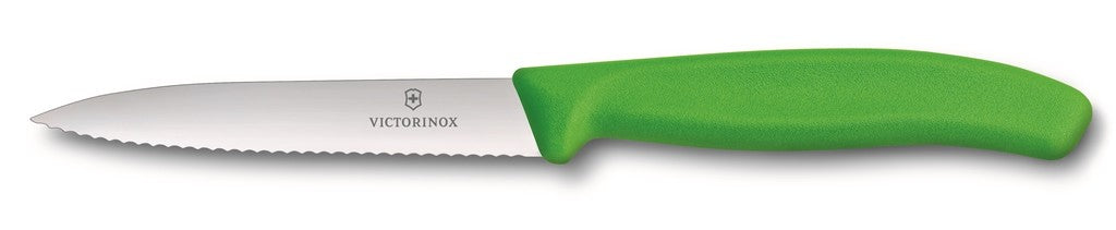 Victorinox Paring Knife Pointed Tip - Wavy Edge - Green 10cm - ZOES Kitchen