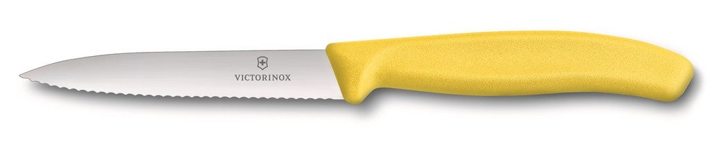 Victorinox Paring Knife Pointed Tip - Wavy Edge - Yellow 10cm - ZOES Kitchen