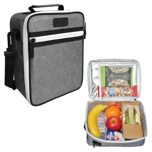 oasis sachi insulated junior lunch tote - charcoal - ZoeKitchen