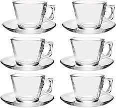 Pasabahce Glass Espresso Cup & Saucer Set Of 6 - ZoeKitchen