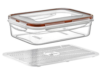 Plast Art - Rectangle Clip Container with Elevated Crisp Tray 0.8L - 17.5x12x6cm - ZOES Kitchen