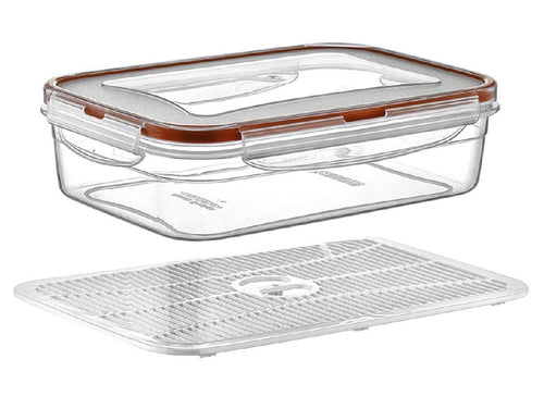 Plast Art - Rectangle Clip Container with Elevated Crisp Tray 1.4L - 21x 14.5x7cm - ZoeKitchen