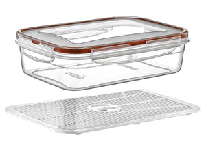 Plast Art - Rectangle Clip Container with Elevated Crisp Tray 1.4L - 21x 14.5x7cm - ZOES Kitchen