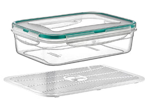Plast Art - Rectangle Clip Container with Elevated Crisp Tray 2.5L - 25.5x18x8.5cm - ZOES Kitchen