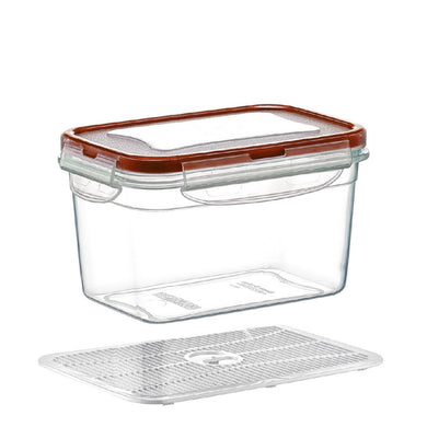 Plast Art - Deep Rectangle Clip Container with Elevated Crisp Tray 1.3L - 17.5x12x9cm - ZOES Kitchen