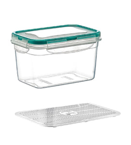 Plast Art - Deep Rectangle Clip Container with Elevated Crisp Tray 2.4L, - 21x14.5x11cm - ZOES Kitchen