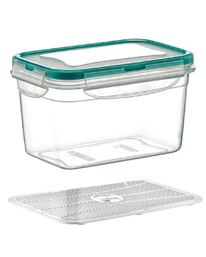 Plast Art - Deep Rectangle Clip Container with Elevated Crisp Tray 4.5L - 25.5x18x14cm - ZoeKitchen