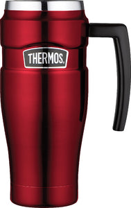 THERMOS 470ML S/STEEL KING VACUUM TRAVEL MUG RED