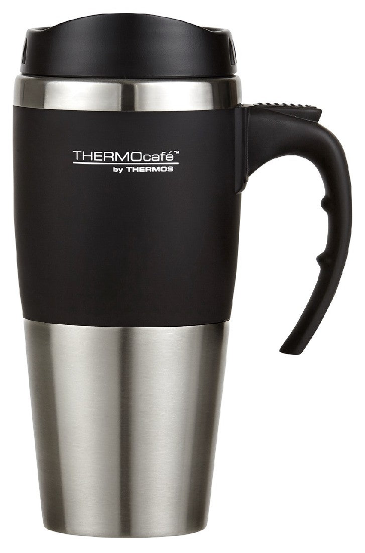 THERMOS 450ML S/STEEL TRAVEL MUG BLACK - ZoeKitchen