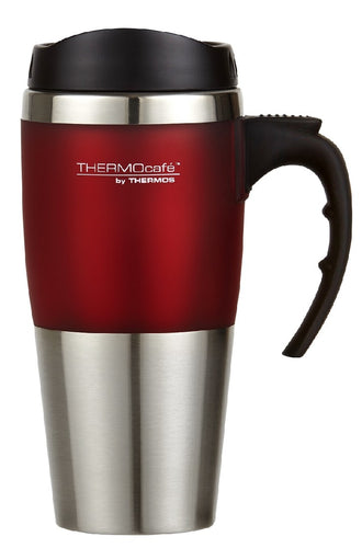 THERMOS 450ML S/STEEL TRAVEL MUG RED TRIM