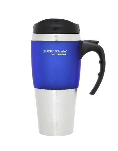 THERMOS 450ML S/STEEL TRAVEL MUG BLUE TRIM