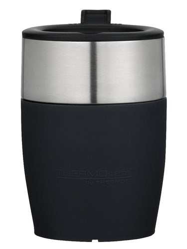 THERMOS THERMOCAFE D/WALL COFFEE CUP S/S 230ML - BLACK