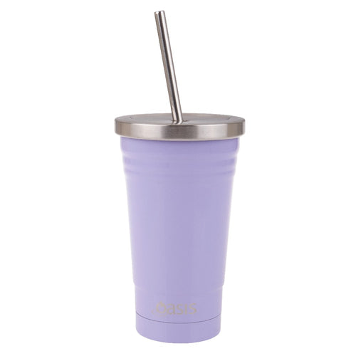Oasis S/S D/W Ins Smoothie Tumbler W/Straw 500ml - Lilac - ZoeKitchen
