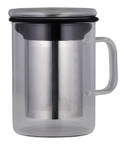 Avanti Glass Tea Mug W/Infuser 350ml Black - ZoeKitchen