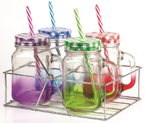 Avanti Coloured Mason Jar W/Handle 400ml - 4 Pce Set - ZoeKitchen