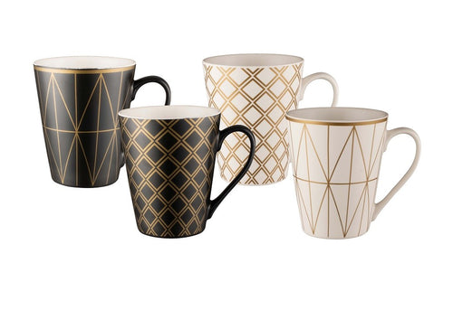Bundanoon Conical Mug Set 4- Geotalics - ZOES Kitchen