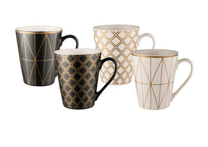 Bundanoon Conical Mug Set 4- Geotalics - ZoeKitchen