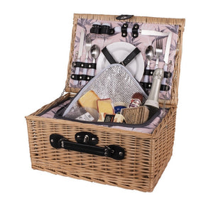 Avanti 2 Person Round Wicker Picnic Basket 42x30x20cm - Bird Of Paradise