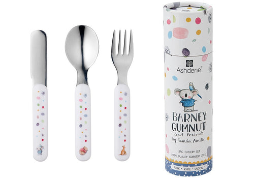 ASHDENE CHILDRENS CUTLERY SET 3 PIECE - BARNEY GUMNUT