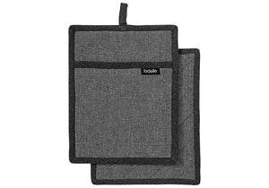 Ladelle Eco Recycled 2pk Pot Holder Charcoal - ZoeKitchen