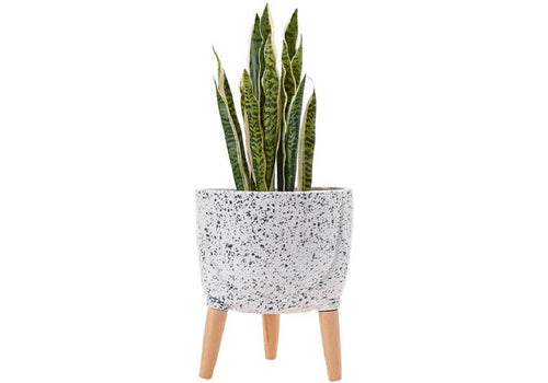 Ladelle Modern Terrazzo Timber Leg Planter 33cm - White - ZoeKitchen