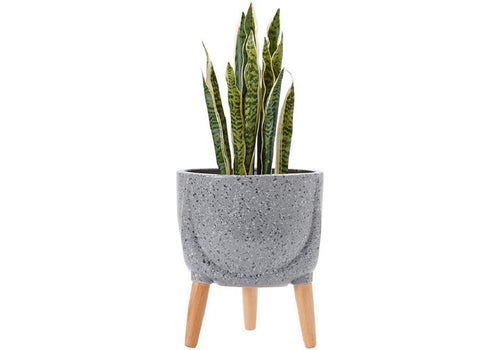 Ladelle Modern Terrazzo Timber Leg Planter 33cm - Charcoal - ZoeKitchen