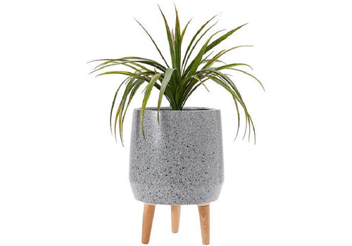 Ladelle Modern Terrazzo Timber Leg Planter 40cm - Charcoal - ZoeKitchen