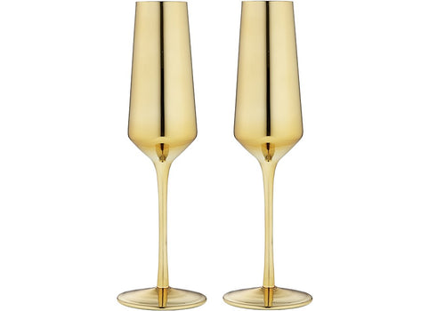 Ladelle Aurora Gold 2pk - Champagne Glass - ZoeKitchen