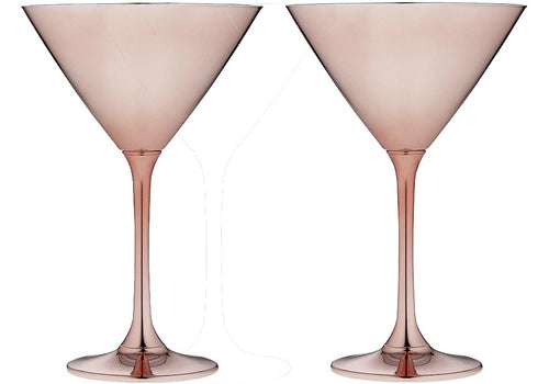 ladelle aurora rose 2pk - martini glasses - ZoeKitchen