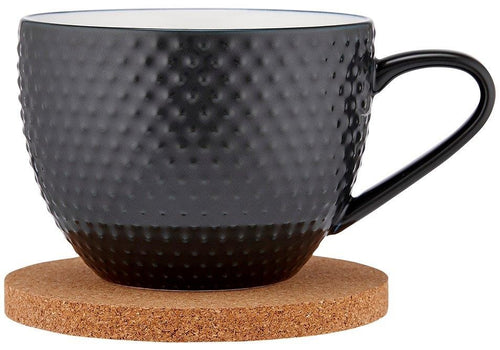 Ladelle Abode Textured Mug & Coaster Set - Charcoal