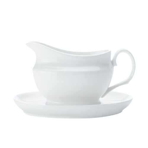 maxwell & williams white basics gravy boat & saucer 550ml gb - ZoeKitchen