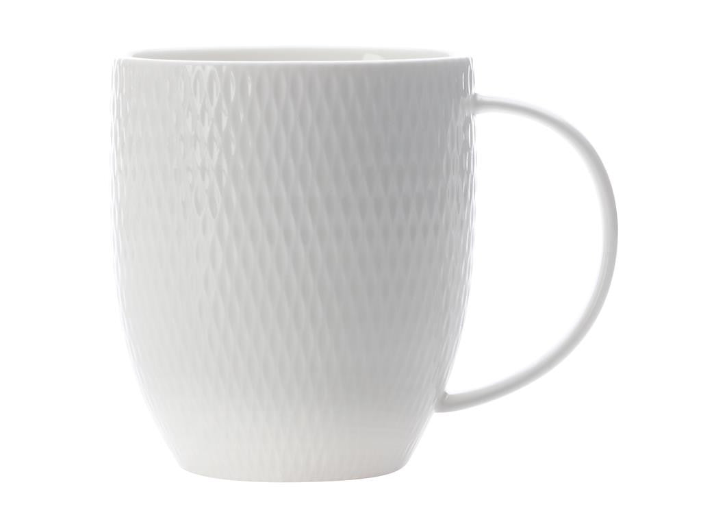 Maxwell & Williams White Basics Diamonds Coupe Mug 370ml - ZoeKitchen