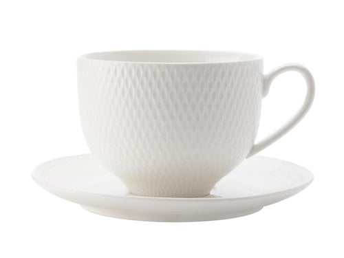Maxwell & Williams White Basics Diamonds Tea Cup & Saucer 220ml - ZOES Kitchen