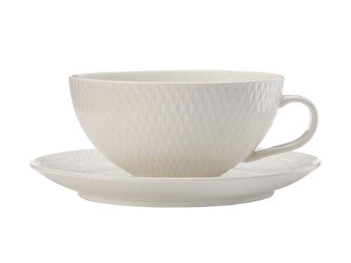 Maxwell & Williams White Basics Diamonds Tea Cup & Saucer Low 250ml - ZOES Kitchen
