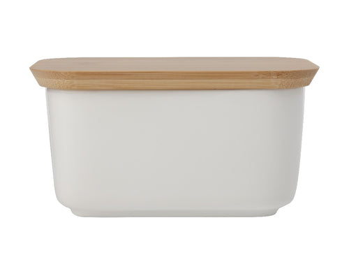 maxwell & williams white basics butter dish with bamboo lid - ZoeKitchen