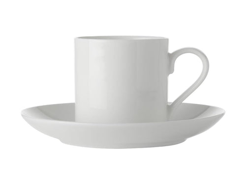 maxwell & williams white basics straight demi cup & saucer 100ml - ZoeKitchen