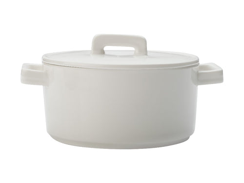Maxwell & Williams Epicurious Round Casserole 1.3l White Gift Boxed - ZoeKitchen