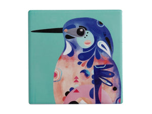 MW PETE CROMER CERAMIC SQUARE TILE COASTER 9.5CM AZURE KINGFISHER